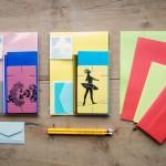 ビンテージの封筒、便箋、鉛筆に活版印刷のメッセージカードが入ってお得なセットになっています