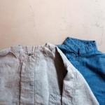 ノーカラーのデザインやスナップボタンがトレンド感を演出してくれる50年代のパジャマシャツ。